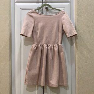 Zara Blush Pink Short Sleeves Open Back Dress